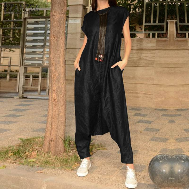 2019 Vintage Overalls Women Summer   Jumpsuits   ZANZEA Sexy Playsuit Casual Party Rompers Beach Pants Plus Size Trousers Pantalon