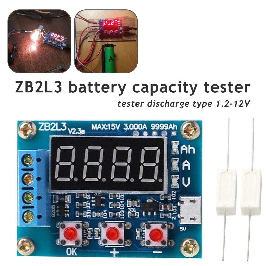Battery Charging Indicator External load Li-ion Lithium Lead-acid Battery 1.2-12V Analyzer Discharge Tester ZB2L3 Battery Tester