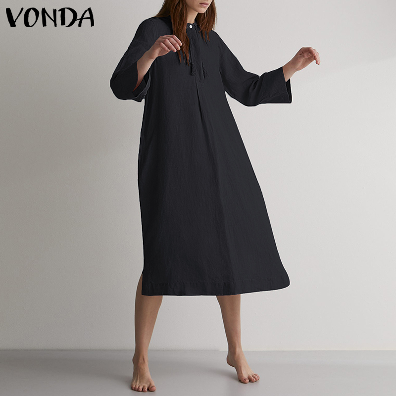 VONDA Women Autumn Dress 2019 Sexy Casual Loose Solid Long Party Dresses Female Vintage O Neck Solid Vestidos Plus Size