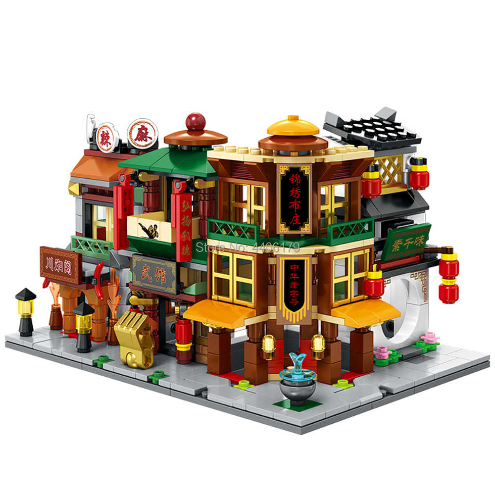 hot city mini Street view series Chinatown Pub Cloth shop restaurant MOC Building Block store model brick toys for children gift
