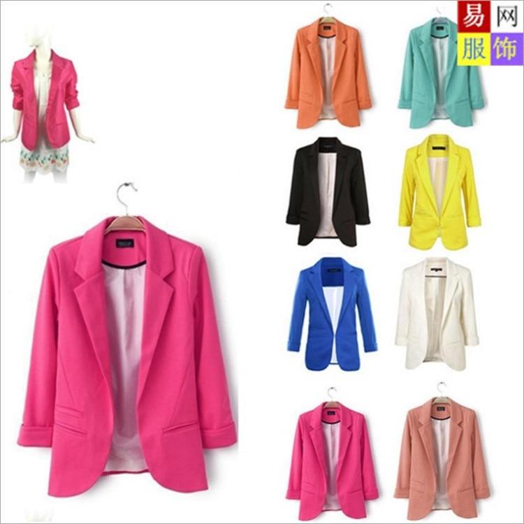 Women Candy Color Jackets Suit Slim Ladies Blazers Three Quarter Work Wear Jacket None Button Business female blazer Coat