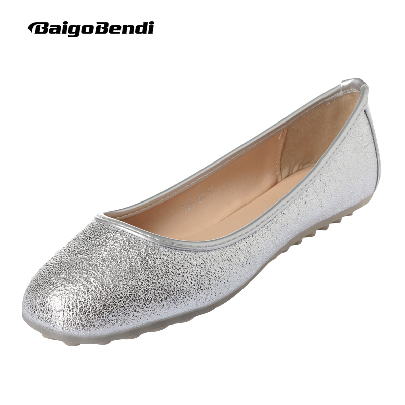 Square Toe Flats ladies Shoes Gold Silver Ballet Flat Light Weight Spring Casual Shoes Girls Shoes Woman US 5 9 in Women 39 s Flats from Shoes