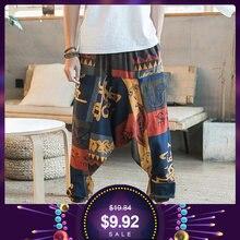 New Hip Hop Aladdin Hmong Larghi di Cotone di Lino Pantaloni stile harem Uomini  Pantaloni Delle a12c1466a4a2