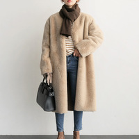 faux fur coat Long teddy coats fur jacket Womens warm plush Pockets Overcoat Winter clothes plus size Casual fashion Brand Femme
