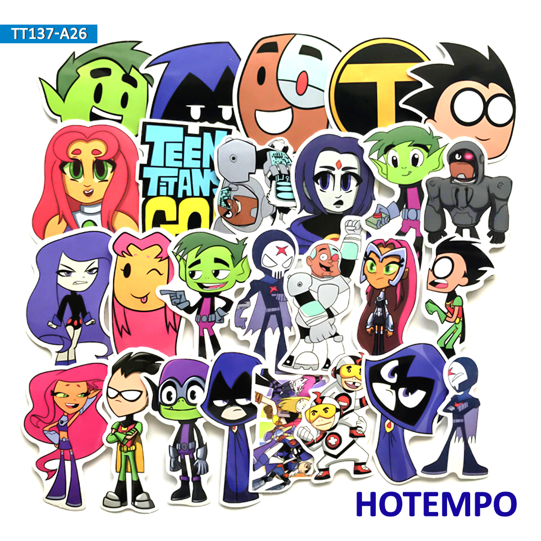 26pcs Funny Teen Titans Go Cartoon Stickers for Scrapbooking Mobile Phone Laptop Luggage Guitar Skateboard Bike Car Stickers