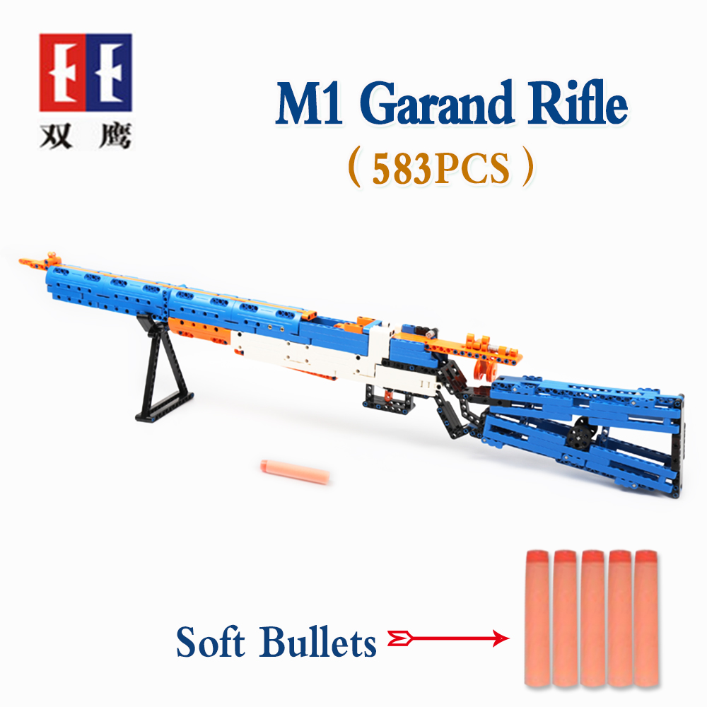 rubber band  gun  AK-47 Garand Rifle  Gun military bricks weapon set can fire building blocks toy for children gift 4