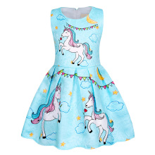 AmzBarley Summer Girls Cartoon Unicorn Dress Pleated Sleevless Toddler girls Birthday Party Outfit Children clothing