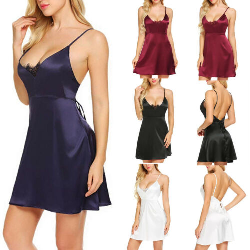 Sexy Womens Nightwear Satin Chemise Nightie Nightdress Sleepwear Slip Dress 6-16