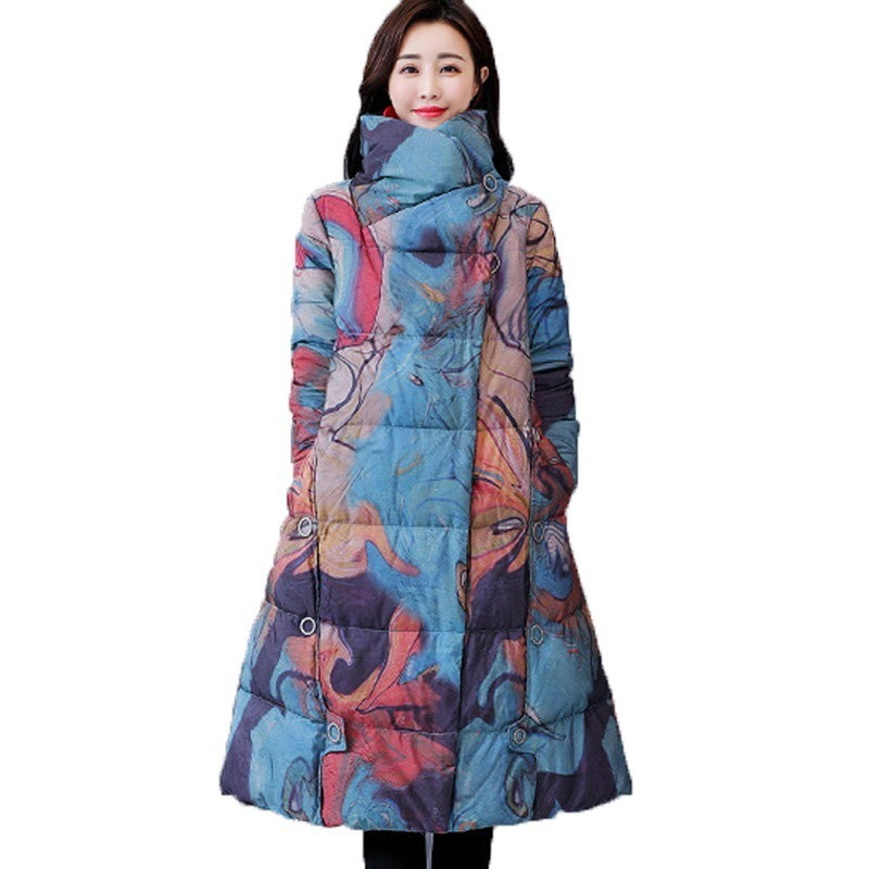 Vintage Parka Print Chinese National Style Female Elegant Long Cotton Padded Clothes Plus Size 2018 Winter Jacket Women A582