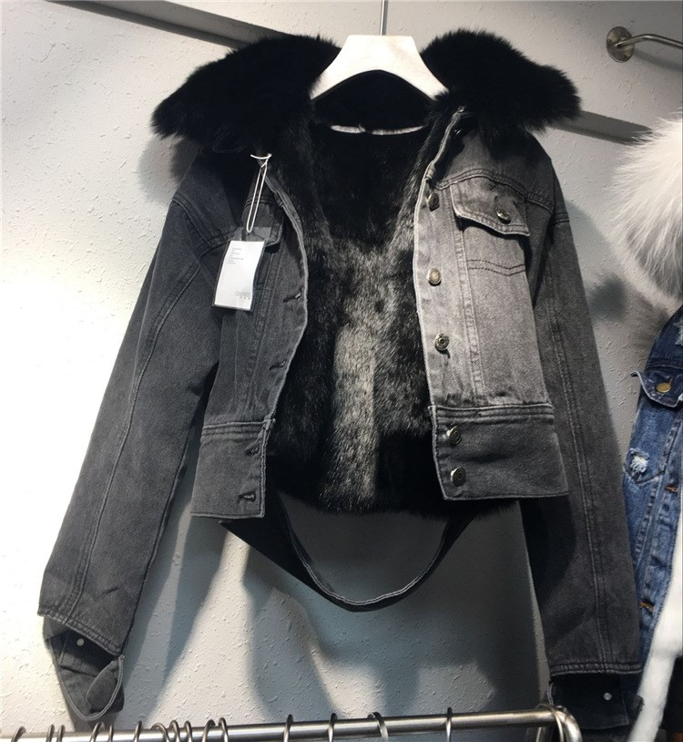 Parka Ligne Avec Manteau Black Fur Real Manches Longues Fourrure De Femmes Lapin Blue real À 2018 Denim Femelle Veste Nouvelle Lâche Réel Jeans wagnqzTx
