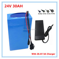 Free customs Free 24V 30Ah Li Ion Battery For 24 Volt 1000W 700W 500W 350W EBIKE Motor with 50A BMS and charger free