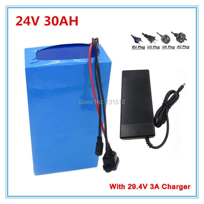Livraison des douanes Livraison 24 v 30Ah Li Ion Batterie Pour 24 Volts 1000 w 700 w 500 w 350 w EBIKE Moteur avec 50A BMS et chargeur livraison