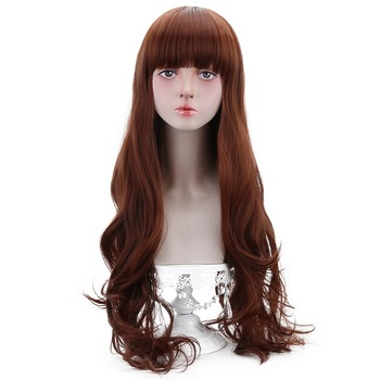 ארוך גלי קוספליי לוליטה פאות פוני סינטטי חום ערמוני שיער תלבושות פאות עבור נשים חום עמיד סיבי OEM