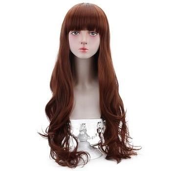 Freies Schönheit Lange Wellenförmige Brown Auburn Haar Synthetische Perücken mit Pony für Frauen Lolita Cosplay Partei Kostüm Halloween Täglichen Make-Up