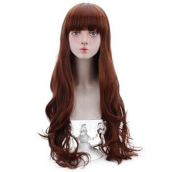 Long Wavy Cosplay Lolita Wigs Bangs Synthetic Brown Auburn Hair Costume Wigs for Women Heat Resistant Fiber OEM