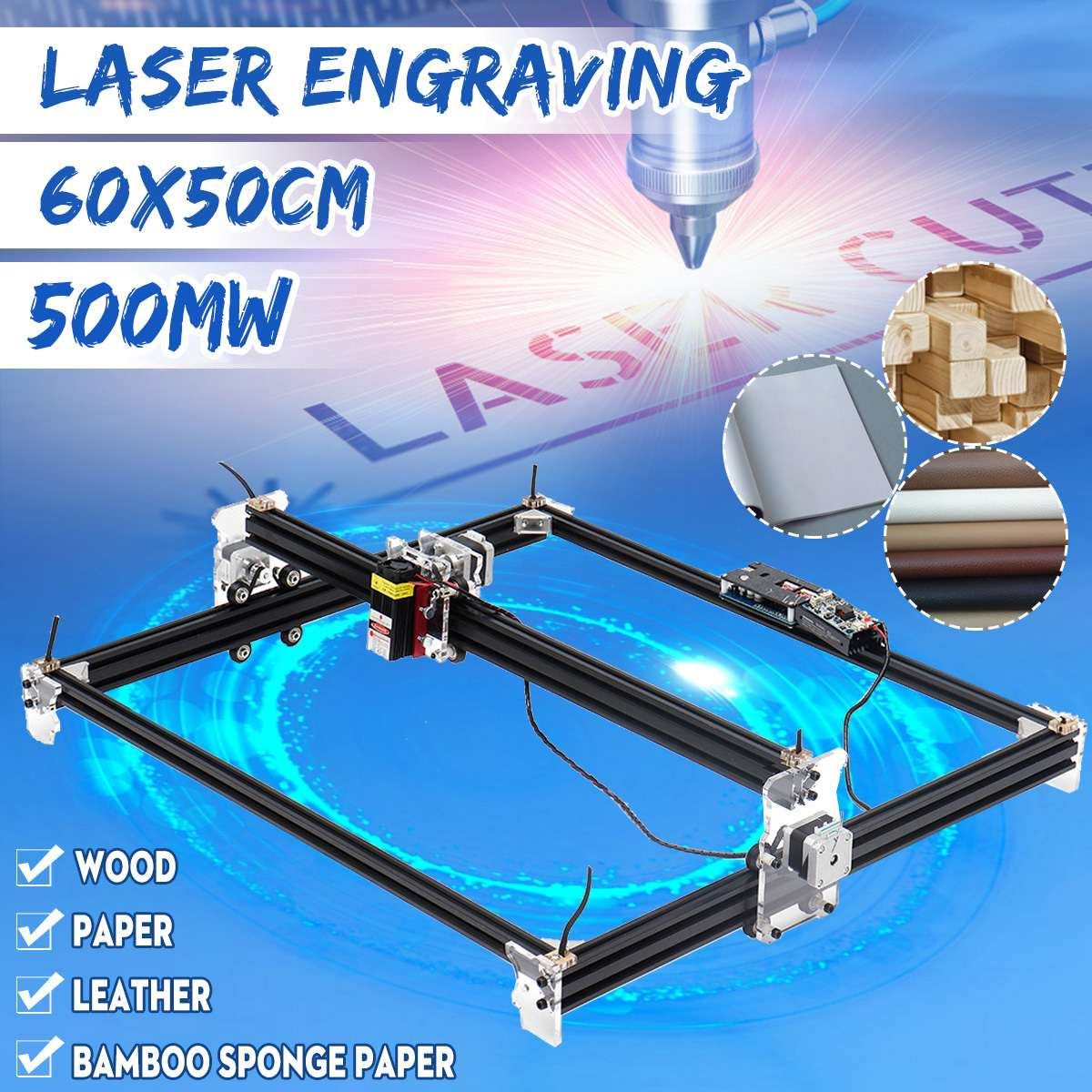 DIY Home Mini  500mw CNC Engraving Machine Laser Engraving 65*50CM 22Axis 12V CNC Machine Wood Router Tools New Arrival 2019