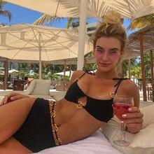 Облегающее боди с высокой талией сексуальный комплект бикини женский черный бандажный купальник металл, сердечки на шнуровке купальник Бразильский бикини
