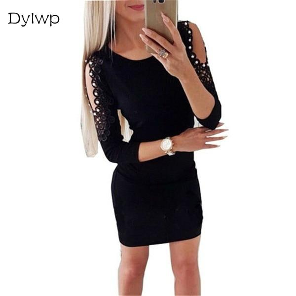 cb28d480268 Women Pearls Beading Off Shoulder Dress Plus Size Lace Long Sleeve Bodycon  Party Dresses Autumn Sexy Clubwear Mini Pencil Dress