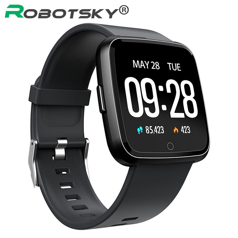 Robotsky <font><b>Y7</b></font> Smart Watch Heart Rate Monitor Blood Pressure Fitness Tracker Waterproof <font><b>Smartwatch</b></font> Women Men Clock For Android IOS image