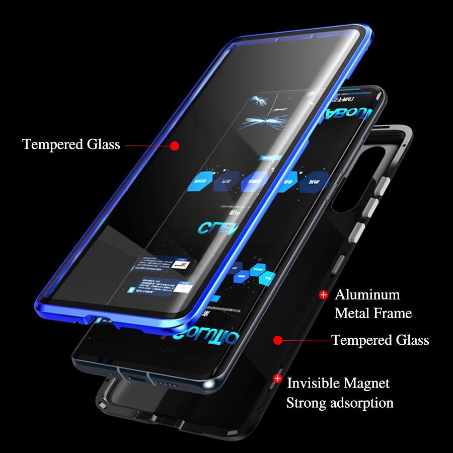 P30Pro 360 Full Body Magnetic Adsorption Metal Case For Huawei P30 Pro Luxury 360 Curved Glass Double Screen Protector CasesP30Pro 360 Full Body Magnetic Adsorption Metal Case For Huawei P30 Pro Luxury 360 Curved Glass Double Screen Protector Cases