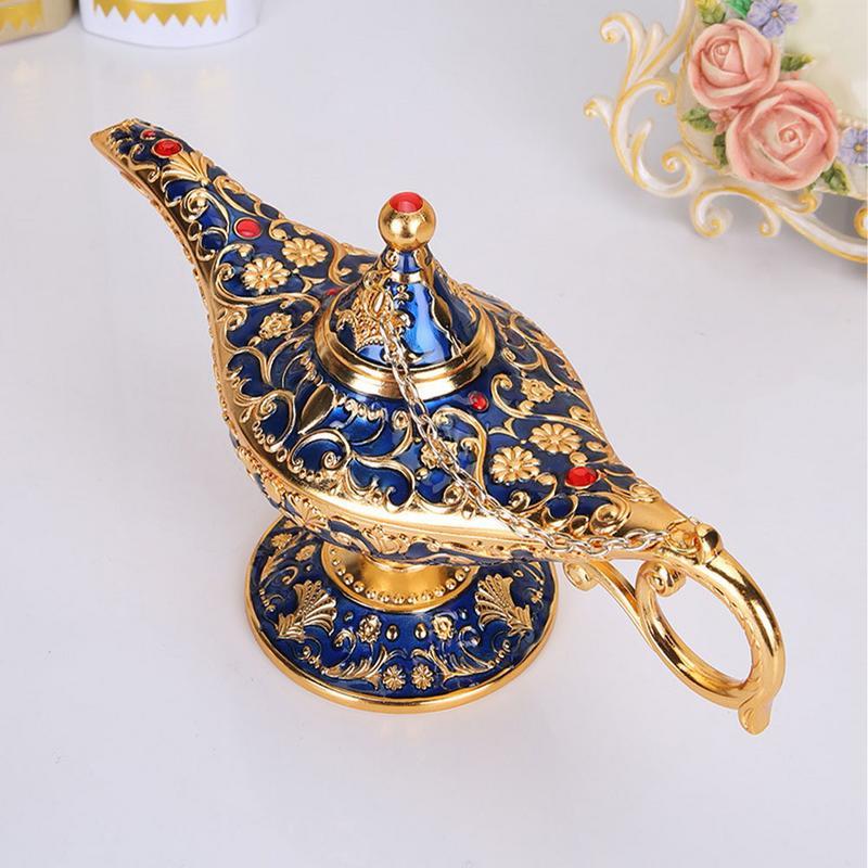 Aladdin Magic Lamp Tin Retro European Art Crafts Zinc Alloy Exquisite Craft Ornament Home Furnishings Decorations Wishing Lamp