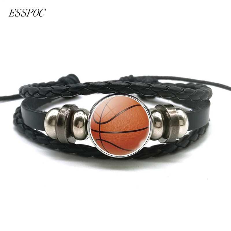 Fútbol baloncesto voleibol vidrio aleación botón pulsera Punk multicapa trenzado cuero pulsera fútbol deporte amante regalo