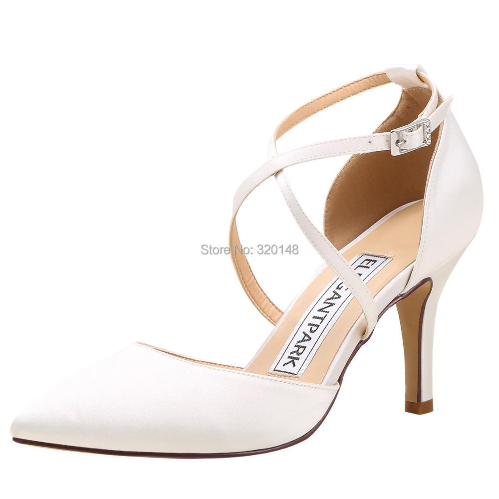 Ivory Navy Women Wedding Shoes High Heels Pointed Toe Cross Strap Evening Party Bride Satin Woman Ladies Bridesmaid Pumps HC1901