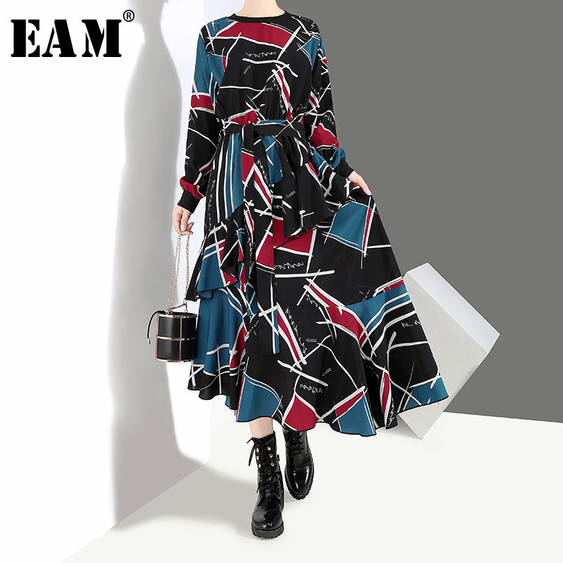 [EAM] 2020 New Spring  Summer Round Neck Long Sleeve Black Pattern Printed Loose Irregular Hem Long Dress Women Fashion JI043