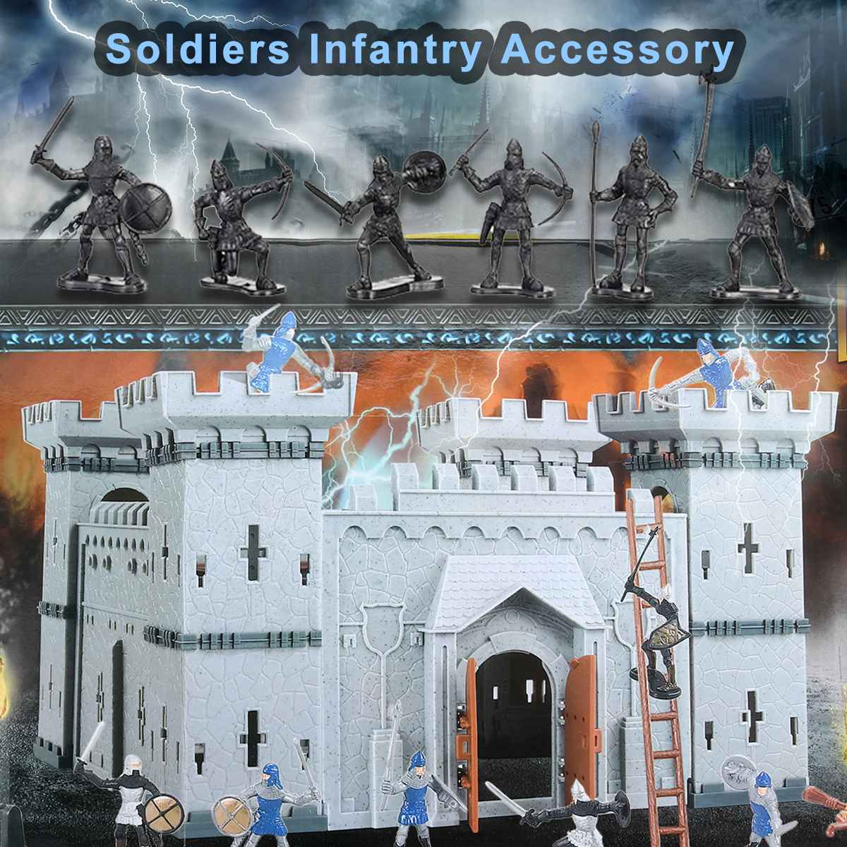 Mediaeval Castle Soldiers Model Assembled Building Block War Military S Plastics Figures Toy DIY Toy For Children