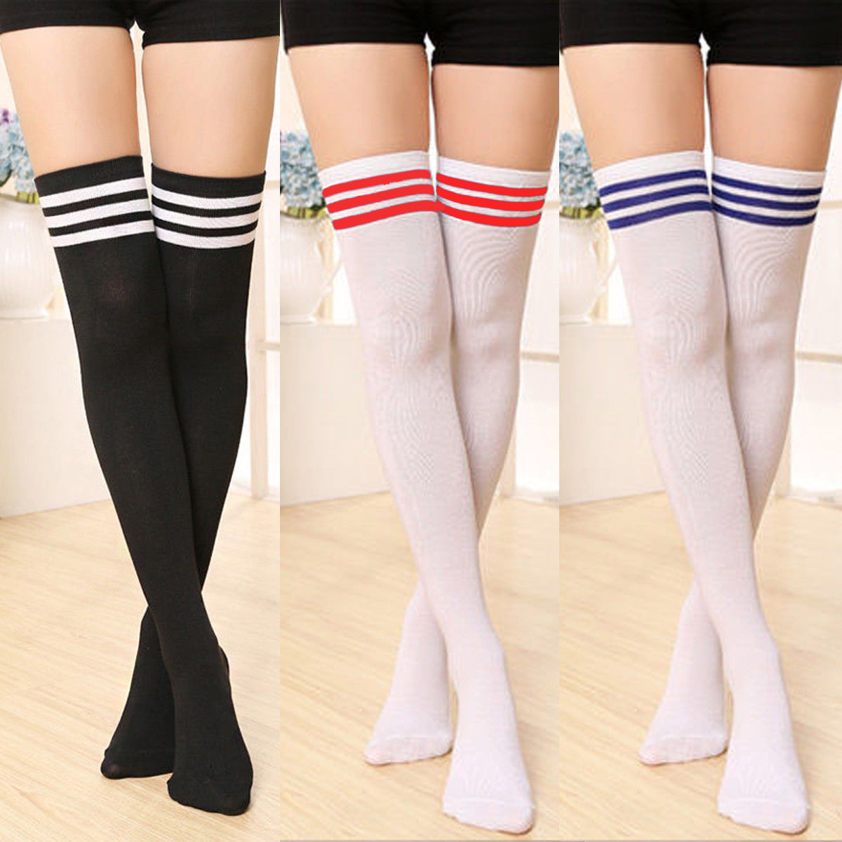 Women Girls Cotton Stripe Long Boot Socks Over Knee Thigh High School Stocking