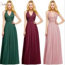 e2a784f735 2019 Borgonha Chiffon Elegante Longo Vestidos de Dama de honra Applique  Wedding Party Guest Vestido robe