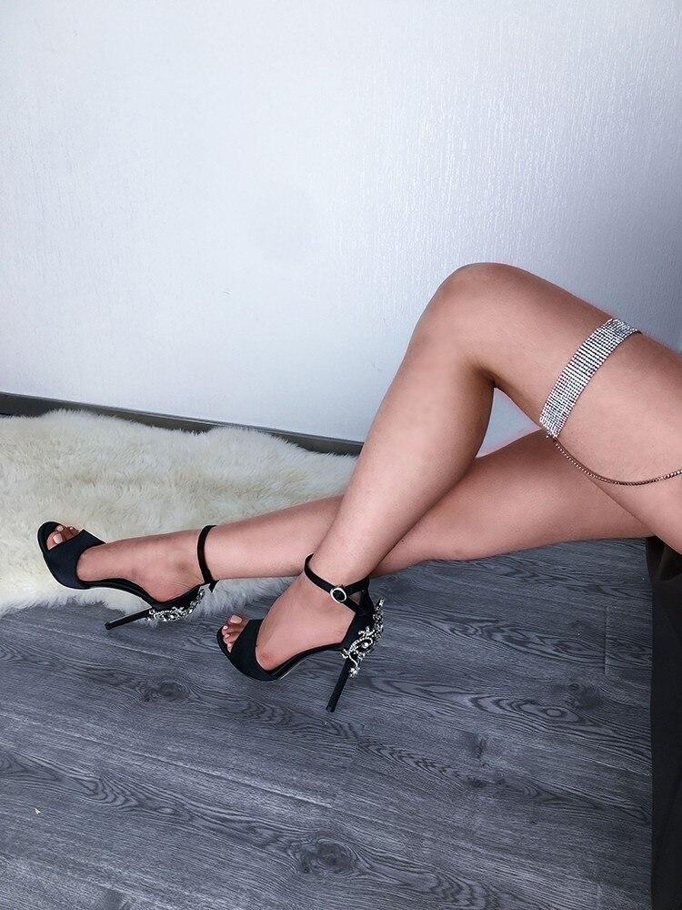 Soirée Femmes Chaussure Sandales Hauts Pic as Escarpins Soie wrap Talons Femme Chaussures Couverture Cheville As Pic De Cristal Mariage EExnqr84