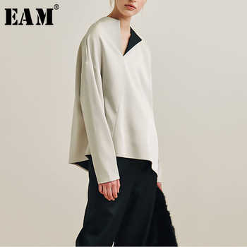 [EAM] 2019 New Autumn Winter Round Neck Long Sleeve Loose Vent Split Joint Brief Big Size Shirt Women Blouse Fashion Tide JQ552 - DISCOUNT ITEM  17% OFF All Category