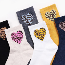 Special Heart Shaped Leopard Women Socks Spring Summer Autumn New Fashion Cute Trendy Color Print High Street