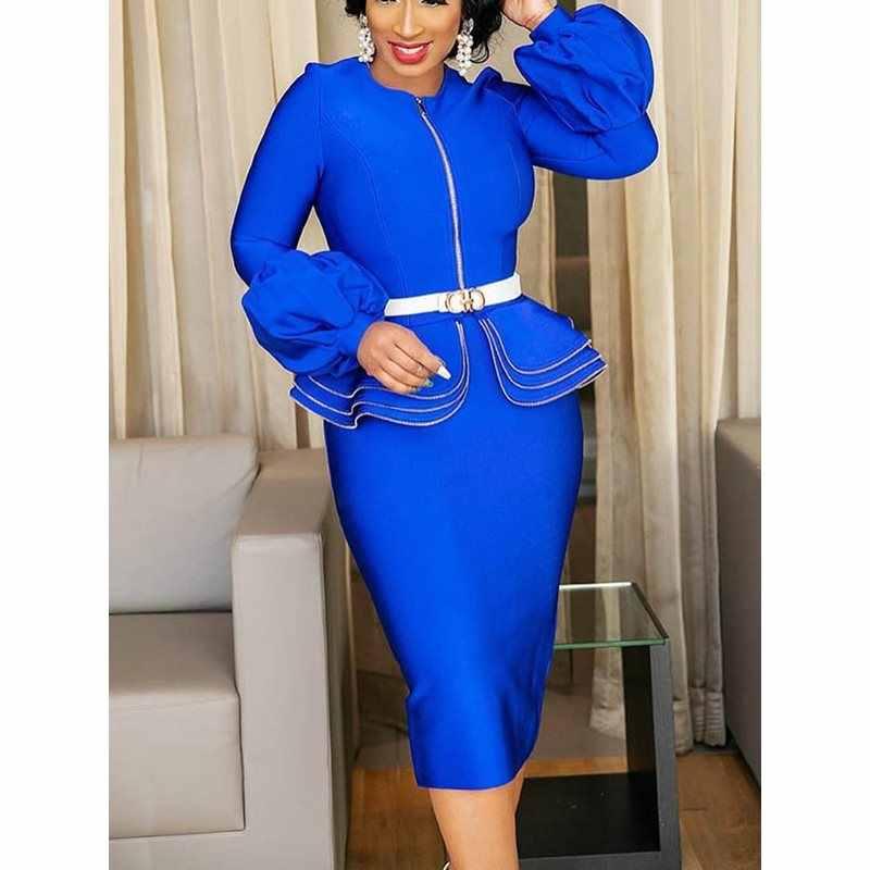 Сексуальное облегающее винтажное платье для женщин с рюшами Королевского синего цвета, элегантное офисное платье с рукавами-фонариками, Осенние вечерние женские белые миди платья