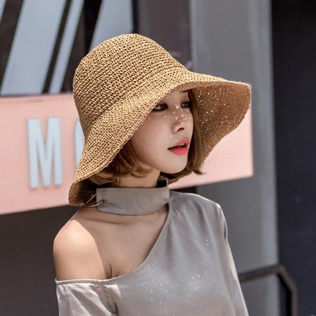 אופנה ליידי קש כובע נשים קיץ מגן שמש כובע קש פנמה מגבעת תקליטונים דלי כובע נשי אישה קיץ כובע קש החוף