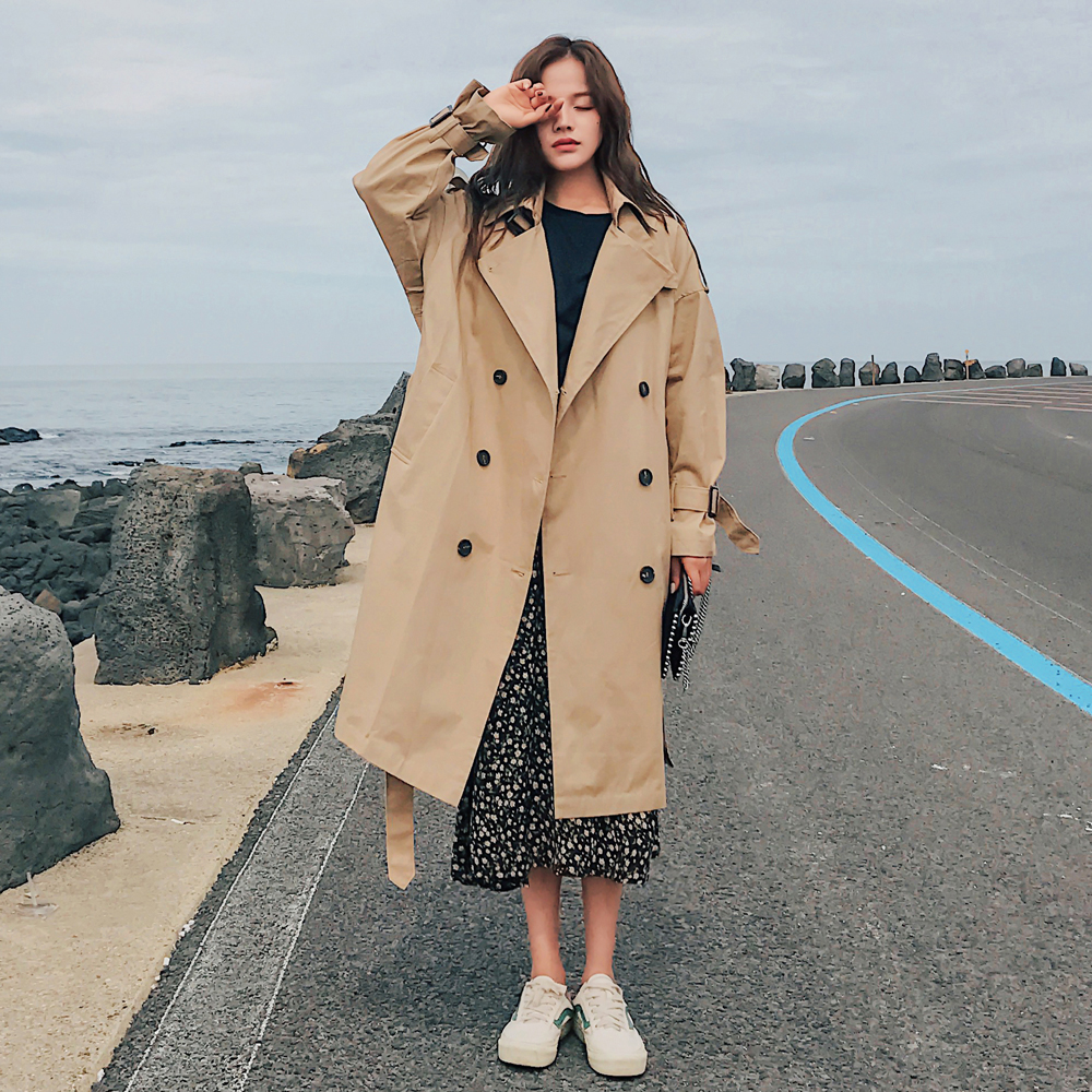 Fashion Brand New Women Trench Coat Long Double Breasted Belt Blue Khaki Lady Clothes Autumn Spring Fashion Brand New Women Trench Coat Long Double-Breasted Belt Blue Khaki Lady Clothes Autumn Spring Outerwear Oversize Quality
