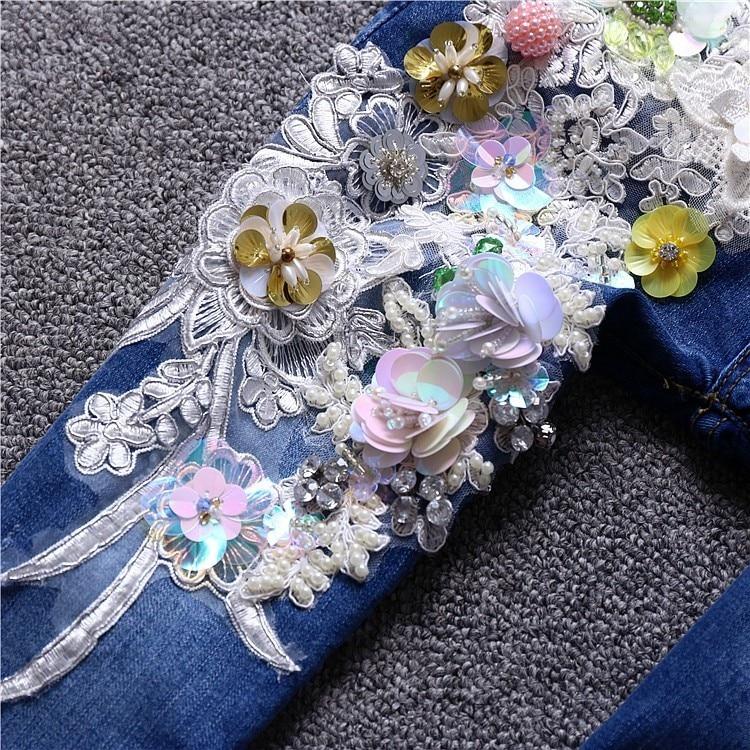 Recién Pantalones Mujer Denim Bordado Llegados Cordón Lentejuelas Azul 2019 Apliques De Vaqueros Moda 6wpSafOq