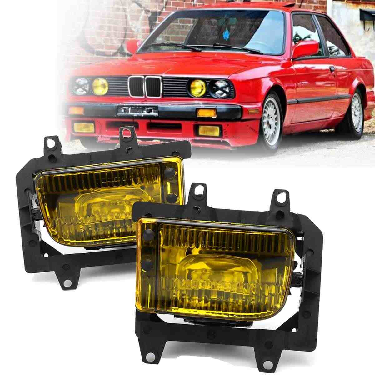medium resolution of detail feedback questions about 2pcs yellow bumper front crystal clear fog light cover no bulb for bmw e30 3 series 325ix 325i 325e 63171385945