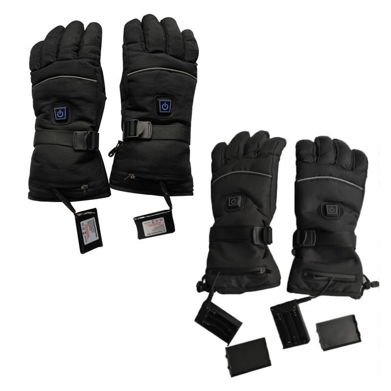 1 par impermeable caliente guantes de batería de la motocicleta para la motocicleta caza de invierno más cálido (dos de placas cable de carga USB)