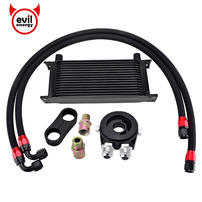 evil energy 16 Row Transmission Adaptor Oil Cooler Oil Filter Cooler Sandwich Adapter Swivel Hose Fitting