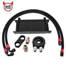 evil energy 16 Row Transmission Adaptor Oil Cooler+Oil Filter Cooler Sandwich Adapter+Swivel Hose Fitting+ Divider Clamp 10AN evil energy 10row 10an engine oil cooler kit swivel fuel hose line an10 seprator divider clamp oil adapter filter cooler plate