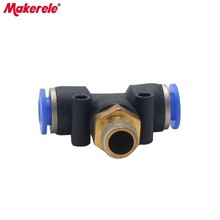 air line fittings T-type PB6  connector PB6-01 / 02 03/04 M5 Pneumatic fast joint external thread three-pipe 1 Pcs