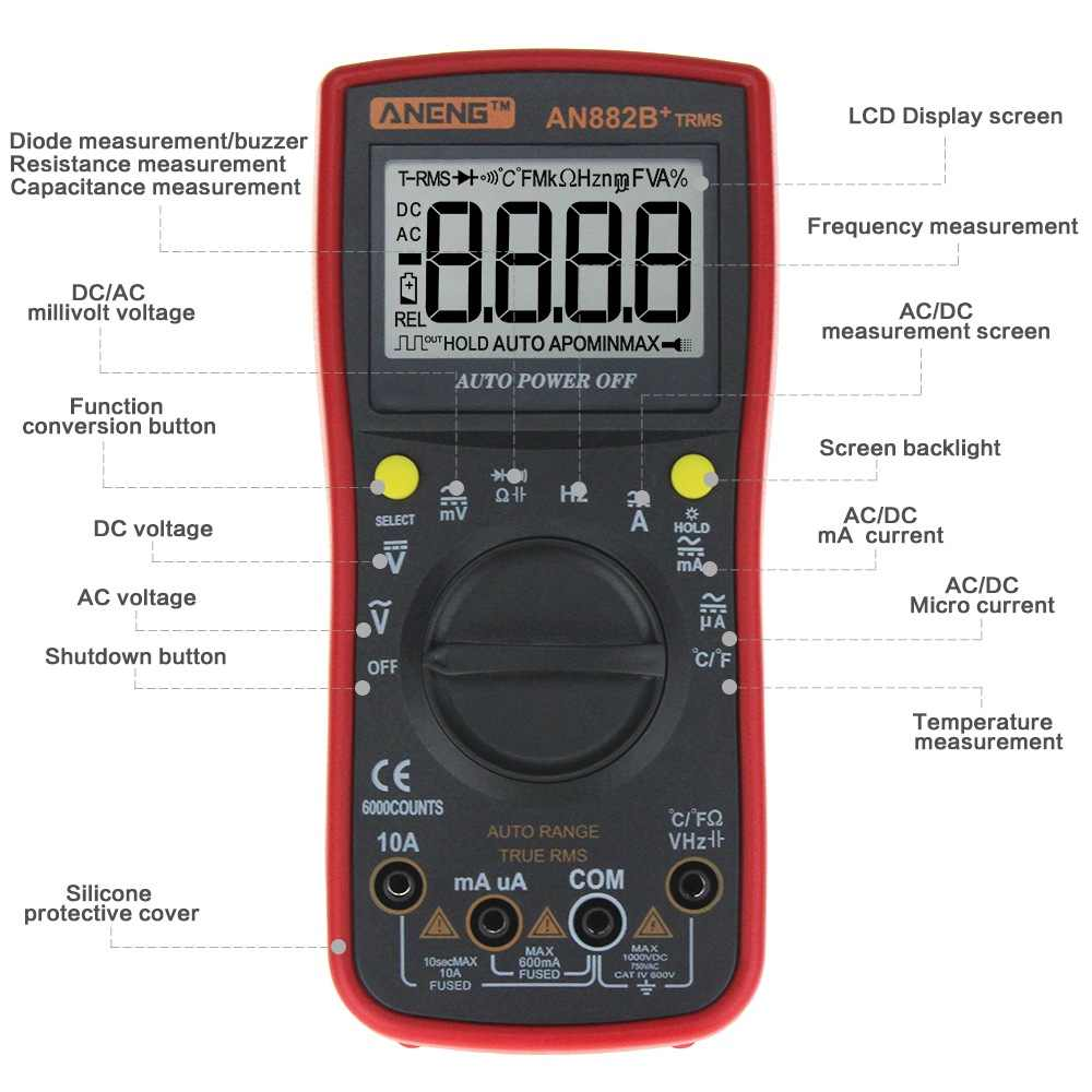 ANENG AN882B + 디지털 멀티 미터 6000 True RMS 데이터 홀드 AC/DC 전압 및 전류 테스트 온도 측정기