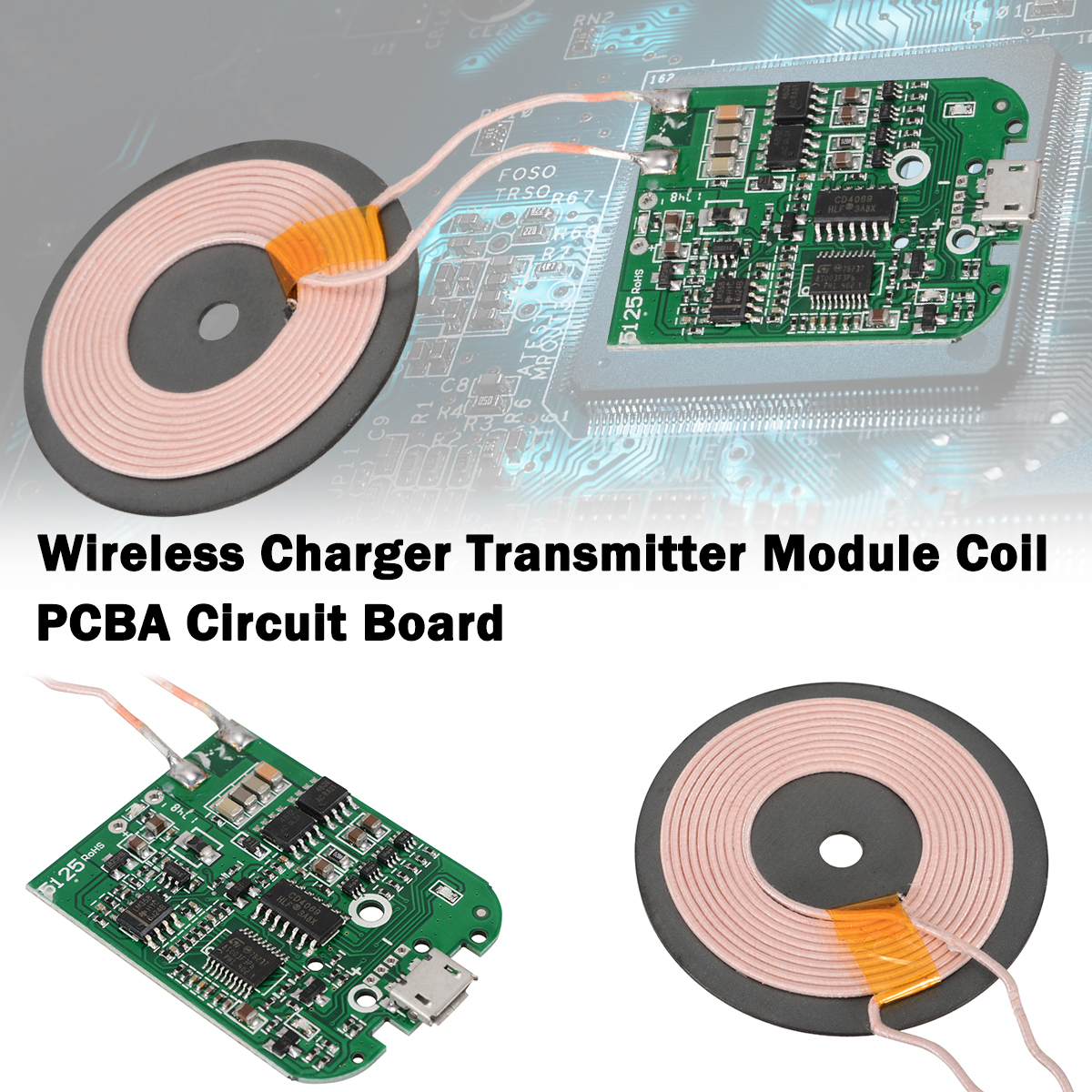 New Qi Fast Wireless Charger PCBA Circuit Board Transmitter Module + Coil Charging High Quality Qi Wireless Charging Standard