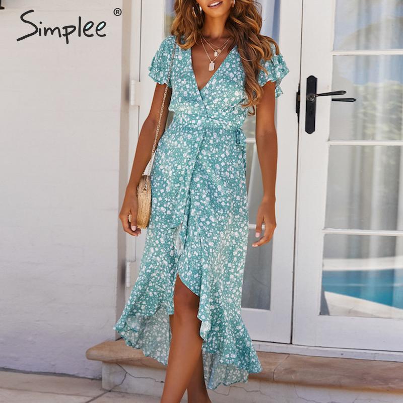 Просто, элегантно печати обернуть летнее женское платье V шеи оборки Саше Халат длинный плюс размер платье Повседневная Женская одежда для ...