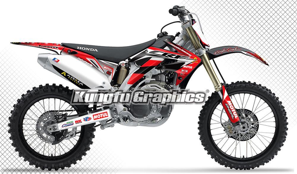 KUNGFU GRAPHICS Motocross Racing Decals MX Stickers Vinyl Kit Vehicle Wraps for Honda CRF 450 R