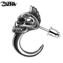 ZABRA 925 Sterling Silver Skull Stud Mens Earrings Vintage Retro Black Earring Men Punk Skeleton Studs For Men Biker Jewelry