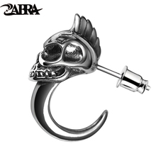 ZABRA 925 Sterling Silver Skull Stud Mens Earrings Vintage Black Earring Men Punk Skeleton Studs For Men Biker Jewelry 1pcs