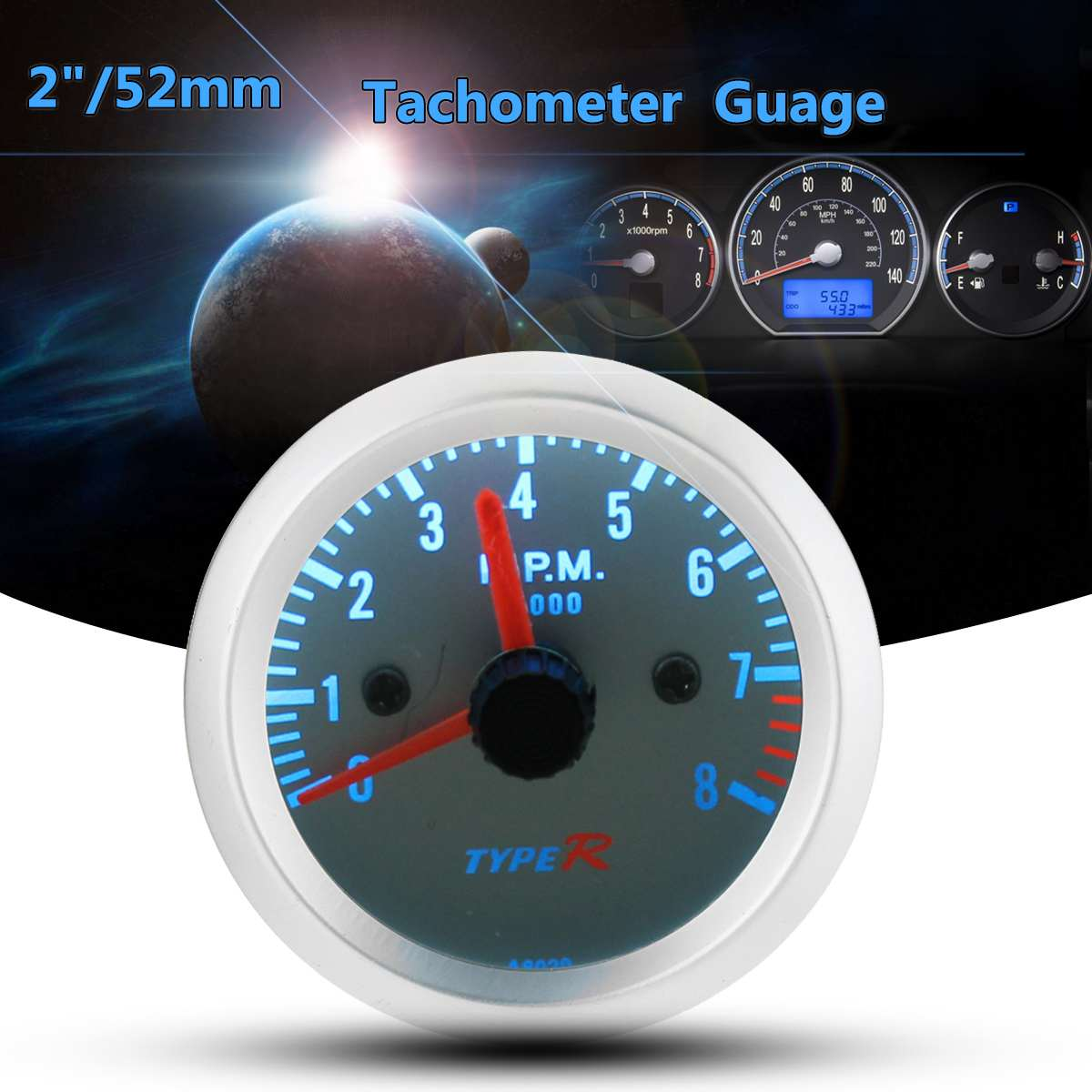 12V Universal 2 inch 52mm Blue LED Tacho 8000 RPM Tachometer for Pointer Gauge Meter12V Universal 2 inch 52mm Blue LED Tacho 8000 RPM Tachometer for Pointer Gauge Meter